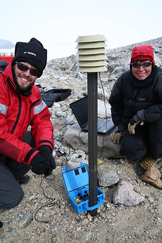 Dave Hedding and Jen Lee retrieving data from a ground thermal logger